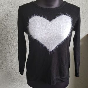 Aqua by Bloomingdales Black Heart Sweater